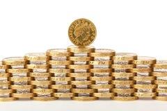 Británicos monedas de 1 libra Fotografía de archivo libre de regalías