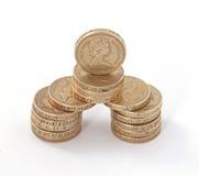 Británicos, Reino Unido, monedas de libra Imagen de archivo libre de regalías