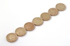 Británicos, Reino Unido, monedas de libra Fotografía de archivo libre de regalías
