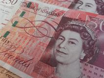 Británicos Sterling Pounds Imágenes de archivo libres de regalías