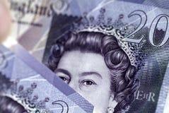 Británicos veinte notas de la libra esterlina Imagen de archivo