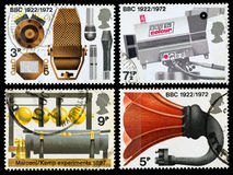 Britain BBC 50th Anniversary Postage Stamps. Set of used postage stamps printed in Britain celebrating the 50th Anniversary of the BBC, circa 1972 Stock Photography