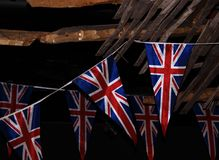 Britain. British Union Jack bunting on cracked war time style Stock Images