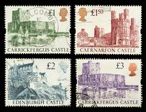 Britain Castle Postage Stamps. Postage Stamps showing British Castles royalty free stock photo