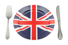 Britain cuisine concept, UK flag on a plate with fork and knife. royalty free illustration