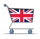 Britain England trade market surplus deficit shopp. Britain and England trade market symbol represented by a shopping cart Royalty Free Stock Image
