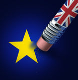 Britain European Union Exit. Decision as a brexit leave concept and UK leaving vote or Euro zone crisis as a pencil with the british flag erasing a star of the Stock Images