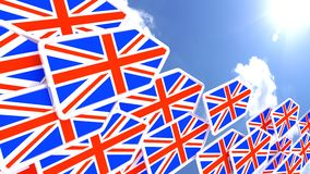 Britain first concept flying flag arrows towards the sun. Flying arrows with the british flag heading towards the sun britain first concept 3D illustration Stock Photo