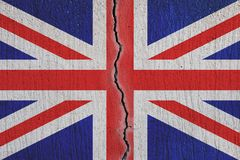 Britain flag breaking apart , cracked  flag - Brexit concept royalty free stock photo