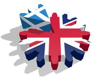 Britain flag on gear, Scotland as part of cogwheel Royalty Free Stock Photography