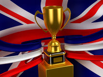 Britain flag with gold cup. Computer generated image (3d render Stock Photography