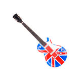 Britain flag guitar isolated on white background Royalty Free Stock Images