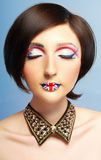Britain flag on her lips Royalty Free Stock Photography