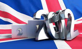 Britain flag on it a pedestal Stock Photography
