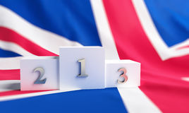 Britain flag on it a pedestal Royalty Free Stock Photos