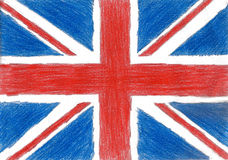 Britain flag, pencil drawing illustration kid style photo Royalty Free Stock Image