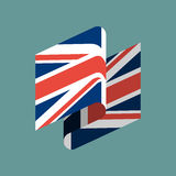 Britain flag ribbon isolated. British tape banner. National symb Royalty Free Stock Photo