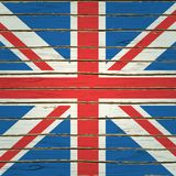 Britain Flag on Wood Texture Royalty Free Stock Photography