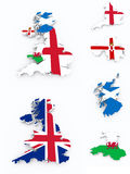 Britain flags on 3d map Stock Images
