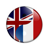 Britain and France working together. The British flag and French flag on a yin yang symbol over white Royalty Free Stock Images