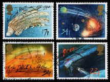 Britain Halleys Comet Postage Stamps. Set of used postage stamps printed in Britain celebrating the Appearance of Halleys Comet, circa 1986 Royalty Free Stock Image