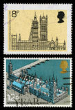 Britain Houses of Parliament Postage Stamps Royalty Free Stock Image