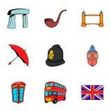 Britain icons set, cartoon style Royalty Free Stock Image