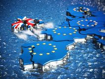 Britain map with boat engine leaving European Union. 3D illustration.  Royalty Free Stock Photography