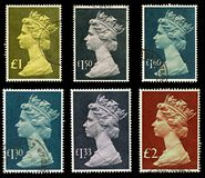 Britain Postage Stamps. Set of Six High Value English Used Postage Stamps showing Portrait of Queen Elizabeth 2nd, circa 1977 to 1984 stock photos