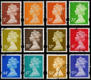 Britain Postage Stamps. English Used Postage Stamps showing Portrait of Queen Elizabeth 2nd, circa 1993 to 2007 stock images