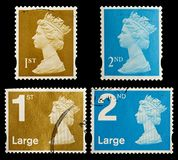 Britain Postage Stamps. Modern First and Second Class Postage Stamps from Britain, circa 1993 to 2006 Stock Images