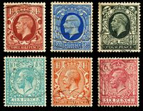 Britain Postage Stamps. King George V Postage Stamps from Britian, circa 1912 to 1936 stock image