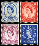 Britain Postage Stamps. Queen Elizabeth 2nd Postage Stamps from Britain, circa 1952 - 1965 Stock Images