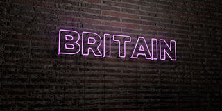 BRITAIN -Realistic Neon Sign on Brick Wall background - 3D rendered royalty free stock image Royalty Free Stock Image