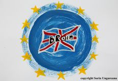 Britain remain in Europe with British flag and European EU flag stock illustration