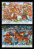 Britain Spanish Armada Postage Stamps. Pair of used postage stamps printed in Britain celebrating the 400th Anniversary of the Spanish Armada  in 1588, showing Royalty Free Stock Photography