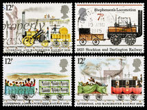 Britain Steam Train Postage Stamps. Set of used postage stamps printed in Britain celebrating the Public Railways and the Liverpool and Manchester Railway Royalty Free Stock Photos