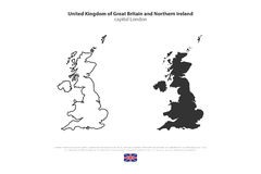 Britain. United Kingdom of Great Britain and Northern Ireland map and official flag icons. vector British political maps icon. Europe geographic banner template Royalty Free Stock Image