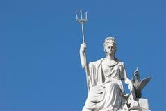 Britannia. Statue Of Britannia with a liver bird in Liverpool Stock Photo