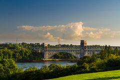 Britannia Bridge, connecting Snowdonia and Anglesey. Robert Stephenson's Britannia Bridge carries road and railway across the Menai Straits between, Snowdonia Royalty Free Stock Photos