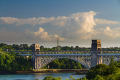 Britannia Bridge, connecting Snowdonia and Anglesey Royalty Free Stock Photos
