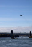 Britannia Bridge and a hercules aircraft Royalty Free Stock Images