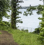 Britannia Bridge from path on Anglesey in Wales Royalty Free Stock Image