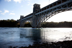 Britannia Bridge and a speed boat Royalty Free Stock Photography