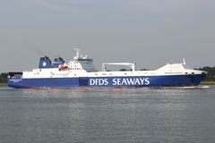 BRITANNIA SEAWAYS inbound Rotterdam. DFDS Seaways is a large Danish shipping company operating passenger and freight services across Northern Europe royalty free stock photo