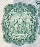 Britannia según lo representado en un billete de banco inglés viejo Foto de archivo