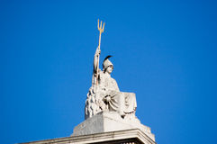 Britannia Statue. Historic statue of Britannia complete with trident and attendent lion.  Roof of Somerset House, Westminster, London Stock Image