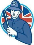 Britannici Bobby Policeman Truncheon Flag Fotografie Stock