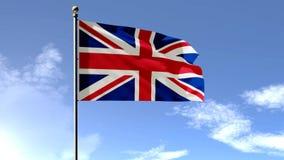 Britannici diminuiscono, bandiera dell'Inghilterra, animazione della bandiera 3D del Regno Unito illustrazione vettoriale