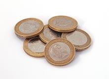 Britannici, Regno Unito, due monete di libbra Immagini Stock Libere da Diritti